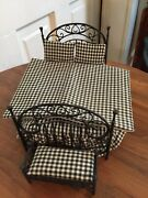 Vintage Black Wire 'wrought Iron' Bed W/matching Bench 112
