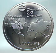 1973 Canada Queen Elizabeth Ii Olympics Montreal World Map Silver 10 Coin I82286