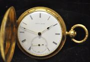 Rare 1860and039s Antique Charles E Jacot 18k Gold Hunterand039s 40mm Case Pocket Watch