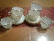 14 Pcs. Set Vintage White Milk Glass Fire King Oven Ware With Swirl And Gold Trim