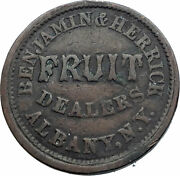 1863 Us Civil War Benjamin Jewish Store Card One Cent Token Penny Coin I81225