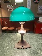 Antique Table Lamp W/ Case Glass Shade