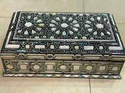 Egyptian Handmade Wood Jewelry Box Inlaid Prominent Mother Of Pearl And Ebony