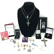Lot 26 Religious Mixed Jewelry Pendants Necklaces Resale Wearable Crafts