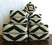 Baskets/boxes, Bamboo, B/w, Beaded, Decorative, 5 In 1, Storage, Planter, Decor