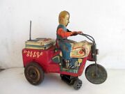 Vintage Ko Mark Wind Up Police Dept Tricycle Bike Litho Tin Toy Made In Japan