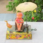 Vintage Boardwalk Delight Litho Tin And Celluloid Wind Up Toy Made In Japan