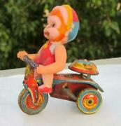 Old Collectible Wind Up Litho Baby On Tricycle Celluloid And Tin Toy Made In Japan