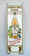 Honey Bee Brandy Advertisement Porcelain Enamel Sign Board Old Collectible