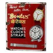 Old Bentex Watches Advertisement Porcelain Enamel Sign Board Clocks And Strips