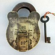 Old Solid Brass Padlock A.m. Crown Mark Unique Shape Collectible Indian Lock