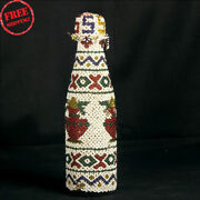 Vintage Glass Bottle With Hand Carved Beads Work Decorative Collectible Cap Jar