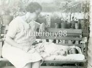 Y597 Vtg Photo Potting Shelf Baby On A Bench Columbia Sc C 1920and039s