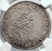 1701 Hungary King Leopold I Large Antique Silver 1/5 Taler Coin Ngc Ms I82509