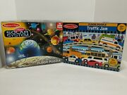 Melissa And Doug Solar System And Traffic Jam Floor Puzzle Lot 2 X 3 Foot Complete