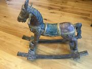 Vintage Asian Wooden Rocking Horse, Hand Carved Throughout.