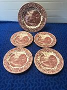 6 Staffordshire Engravings 17th Century Red Transfer Ware 8 Salad And 1 Dinner
