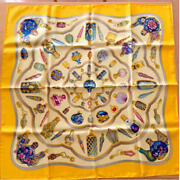 Hermes Scarf Stole Qu Importe Le Flacon Yellow Perfume Bottle Silk Auth 36 In
