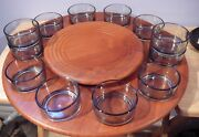 Vintage Digsmed Teak Lazy Susan And Glass Inserts Sauce Cups Denmark