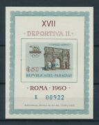 [105515] Paraguay 1963 Olympic Games Rome 1960 Souvenir Sheet With Ovp Mnh