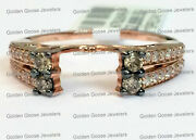 14k Rose Gold Champagne Chocolate Diamonds Solitaire Wrap Ring Guard Enhancer
