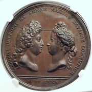 1680 France King Louis Xiv And Grand Dauphin Son W Maria Anna Medal Ngc I82344