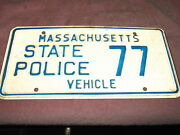 Massachusetts License Plate, State Police 77, Vehicle, Nice Border, Very Clean.