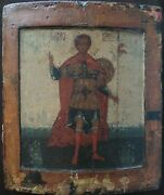 Antique Rare 17-18c Hand Painted Russian Icon John The Warrior