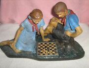Soviet Chess Sculpture The Pioneers Play Chess. Middle Of The 20th Century