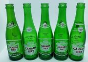 5 Vintage 1950's Canada Dry 7 Oz 2-sided Acl Bottles Round Green Ny Nice