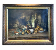 Antique Oil Painting, Elaborate French Still Life In 31.5 X 25.5 Gilt Gesso