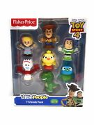 Fisher Price Little People Toy Story 4 Woody Bo Duck Buzz Rex Forky Bunny 7 Pack