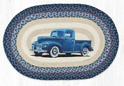 Old Blue Truck Braided Jute Rug 20 X 30, Earth Rugs, Country, Man Cave, Garage