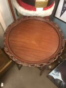 Rare Antique Pie Crust Table French Hand Carved Gold Inlay