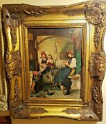Antique Early 19th.c Portrait Of Young Lady Oil On Wood Board Unsigned