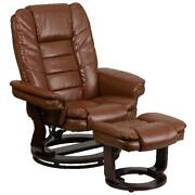 Leather Recliner With Ottoman Contemporary Stressless Chair Headrest Comfortable