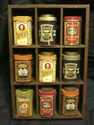 Vintage Style Tin Spice And Wood Rack Containers England Case Manufacturing
