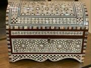 Large Handmade Wood Jewelry Box Inlaid Mother Of Pearl 14x10