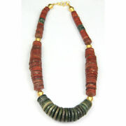 Ancient Nepalese Jasper Disc-shaped Bead Necklace With Gold Elements. Y2559