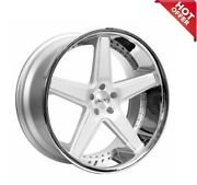22 Staggered Azad Wheels Az008 Silver Brushed With Chrome Lip W/ Tires Tpms