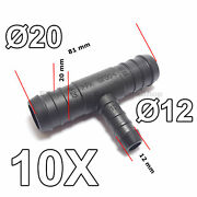 10x 12mm To 20mm T-piece 3-way Hose Tube Pipe Splitter Connector Air Fuel Water