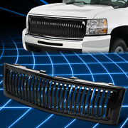 For 07-13 Silverado 1500 Glossy Vertical Bumper Grill Grille Cover Replacement