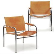 Vintage Pair Of Chrome Tubular And Leather Andldquoklintandrdquo Arm Chairs By Tord Bjorklund