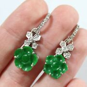 Vintage 18k White Gold Natural Carved Flower Jadeite With Diamond Earring