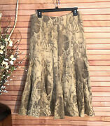 100 Linen Long Flared Tan Floral - Size 4 G