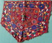 Traditional Gujarati Hand Stitched Embroidery On Cotton Textile W/ Mirror Work