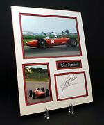John Surtees Signed Mounted Photo Display Aftal Motorcycle Racer And F1 Driver