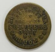 Sutler Token Sutler Check Redeemed In Goods To Soldiers Only Nl136 Brass R8