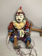 Antique 16 Thai Indonesia Burmese Hand Made Wood Marionette String Puppet, Rare