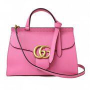 Gg Marmont Top Handle Bag 421890 Pink Leather Shoulder Purse Auth Woman